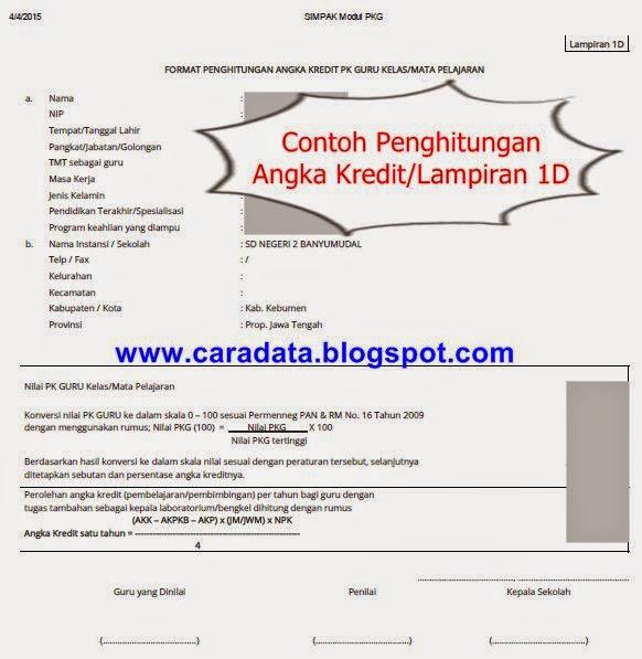 Format Penghitungan Angka Kredit Guru Kelas/matpel