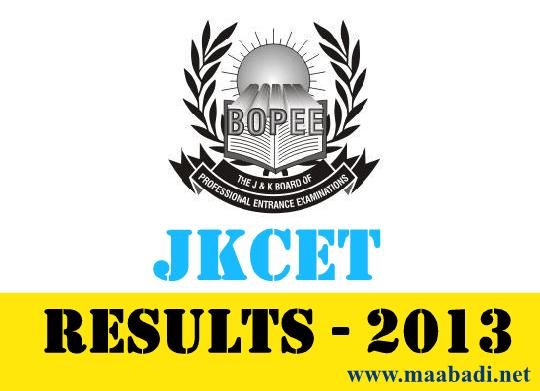 JKCET Results 2013 | J&K BPEE CET 2013 Result at www.jakbopee.org
