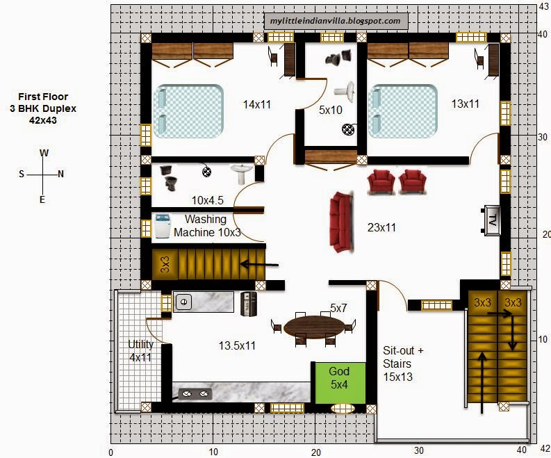 My little indian villa 48 r41 3bhk duplex in 42x43 east for 16x50 house plans