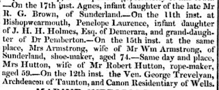 Newspaper cutting stating that Mrs Hutton, wife of Mr Robert Hutton, rope-maker had died aged 59 in Sunderland on the 15th inst