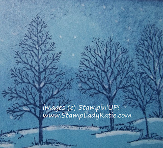 Winter Card made with Stampin'UP!'s Lovely as a Tree Stamp Set and white Chalk Marker