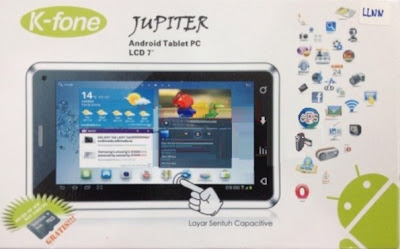 K-Fone Jupiter HD. Tablet China Jelly Bean. Dual-cor.e Dual SIM. plus TV. Harga Murah. Satu Jutaan