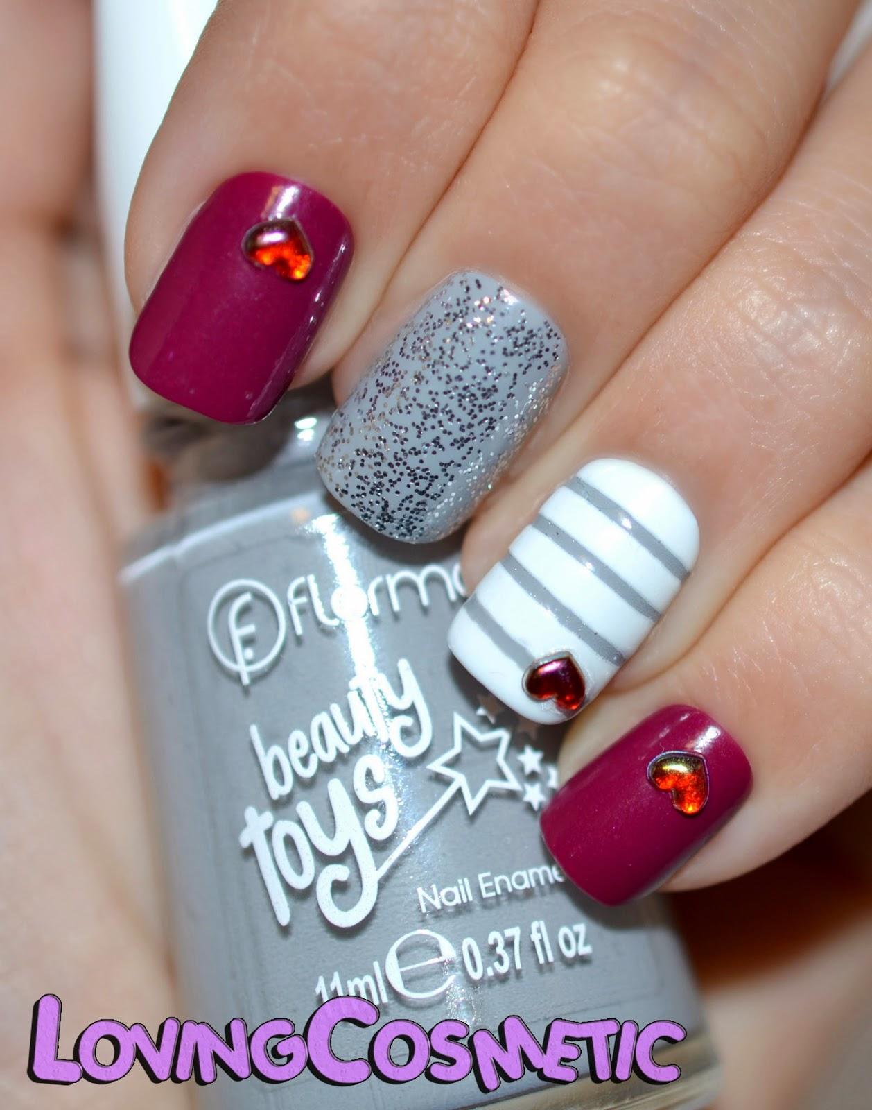 Bornprettystore gris blanco corazones decoracion rhinestones heart flormar beautytoys princess castle