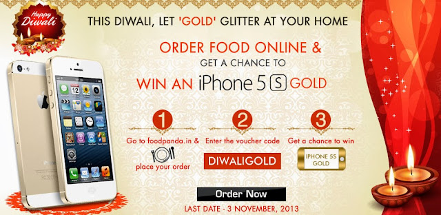 This Diwali Order Food Online & Win iPhone 5S Gold