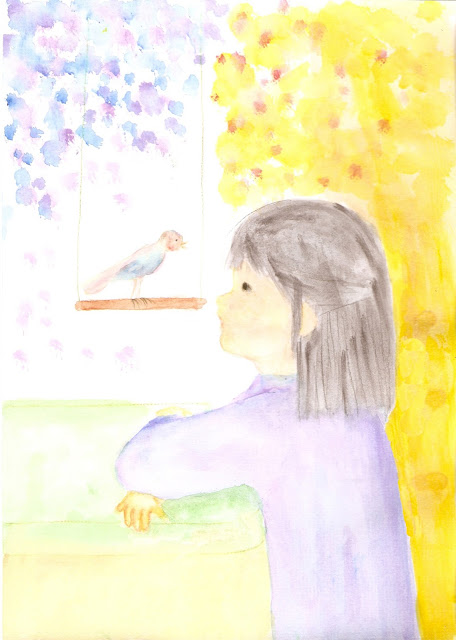 whisper watercolour painting of bird and little girl