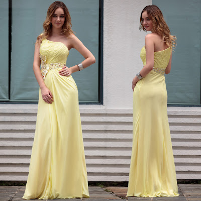 Daffodil One Shoulder Floor Length Dress