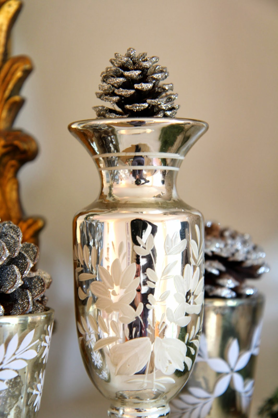 Mercury Glass and Glittered Pinecones