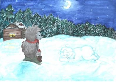 Ёжик и Медвежонок – иллюстрация к сказке. Автор рисунка: Четкова Дарья