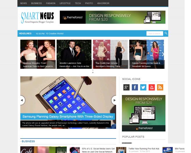 Smart News Responsive Blogger Template trang tin tức đẹp, chuẩn Seo