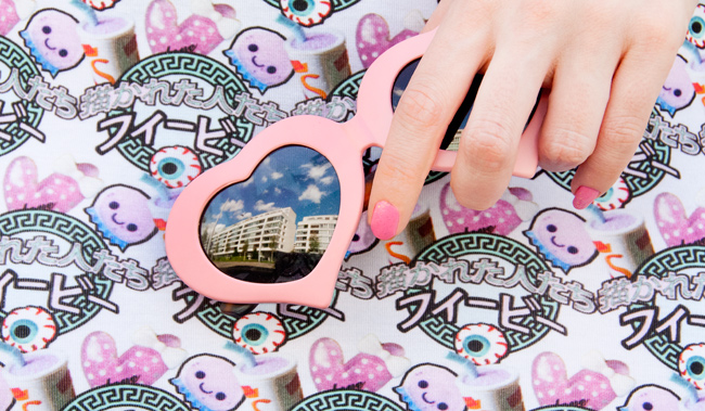 Pink Heart shaped glasses, Harajuku dress, Illustrated People