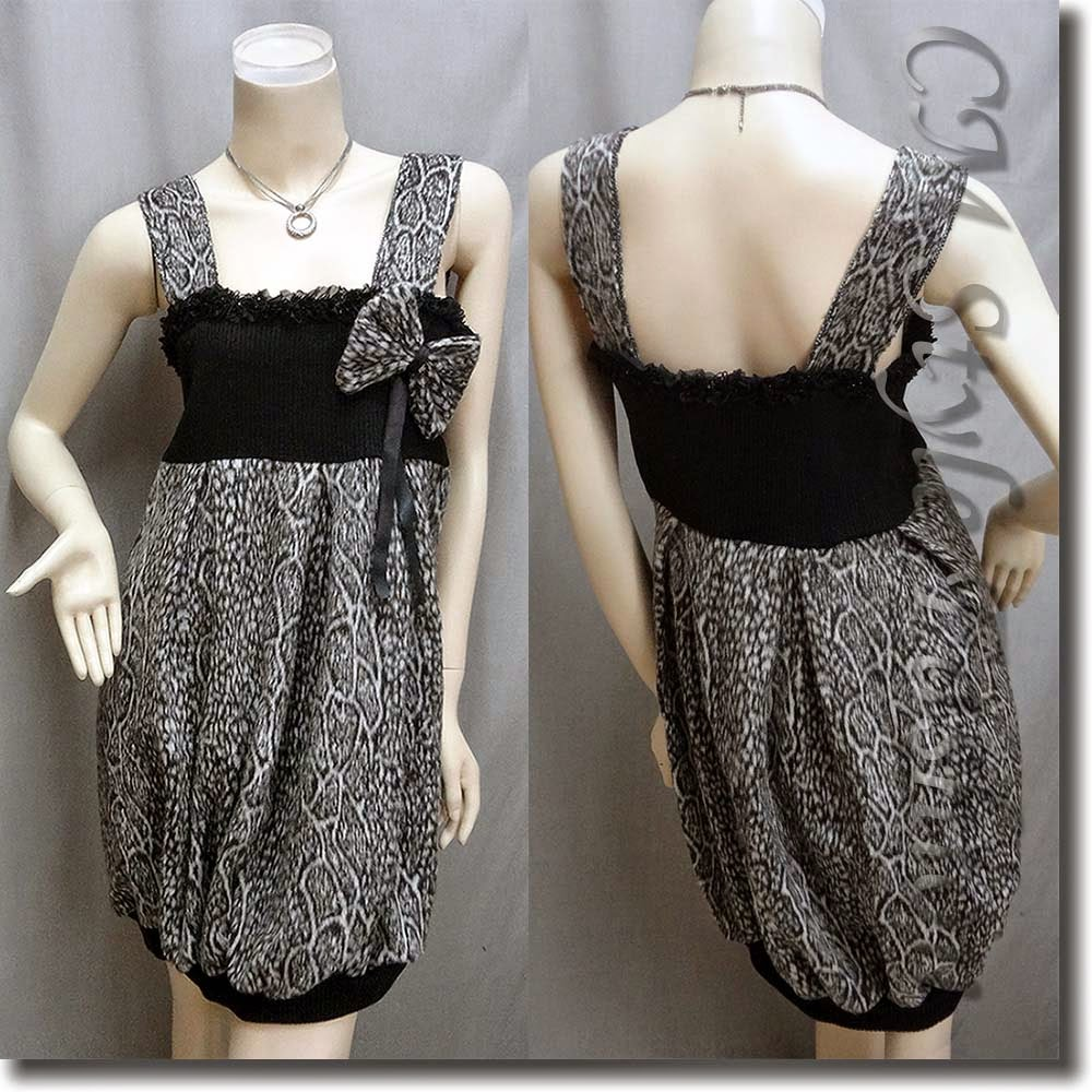 Bow Detail Leopard Print Bubble Tunic Dress Top Gray