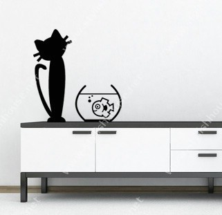 Imaginary cat and fish wall stickers drawings for living room walls