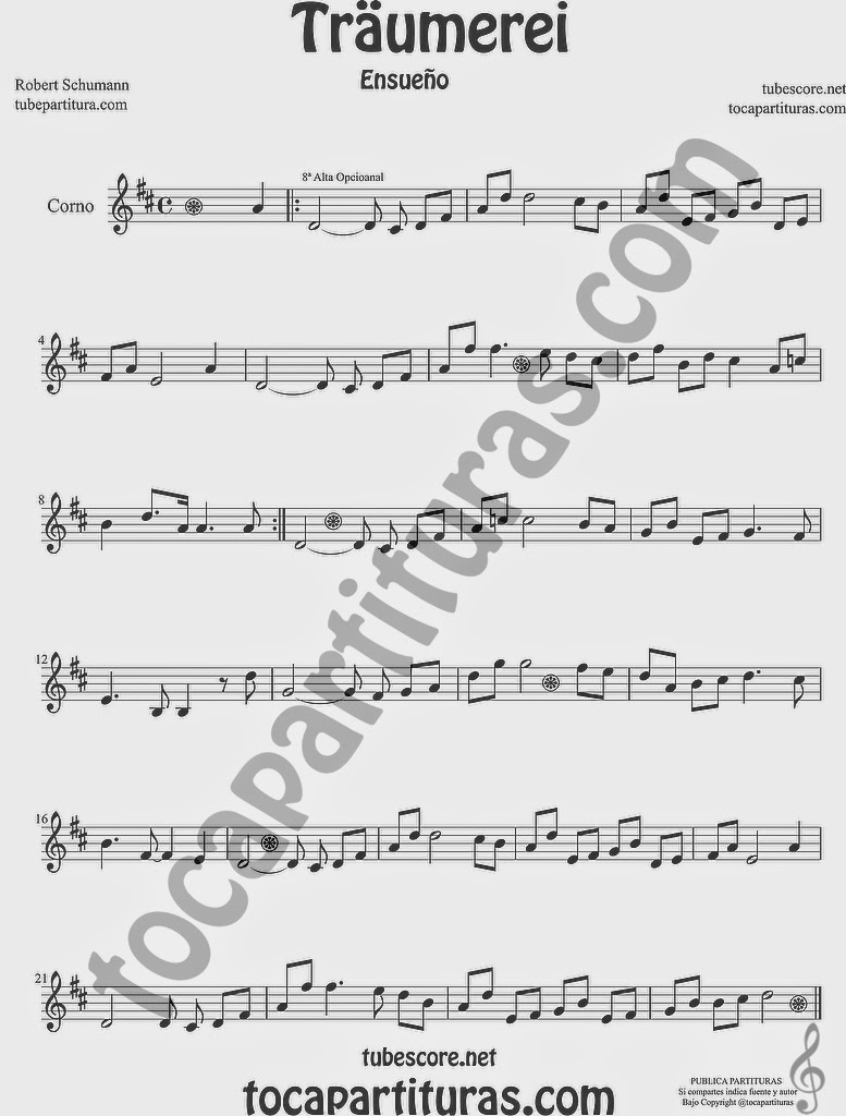 Traumerei Partitura de Trompa y Corno Francés en Mi bemol Sheet Music for French Horn Music Scores