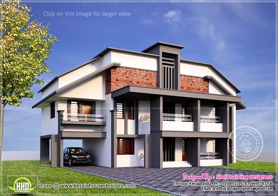 5 bedroom variety villa elevation kerala home design and for Variety home designs