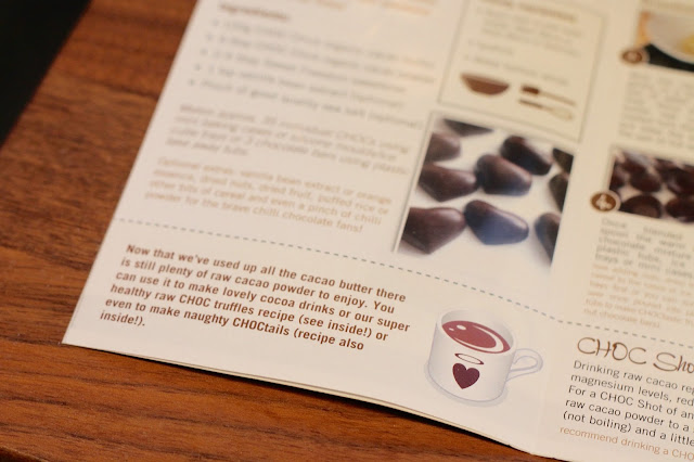 information leaflet and recipe that comes with choc chick raw chocolate making starter kit