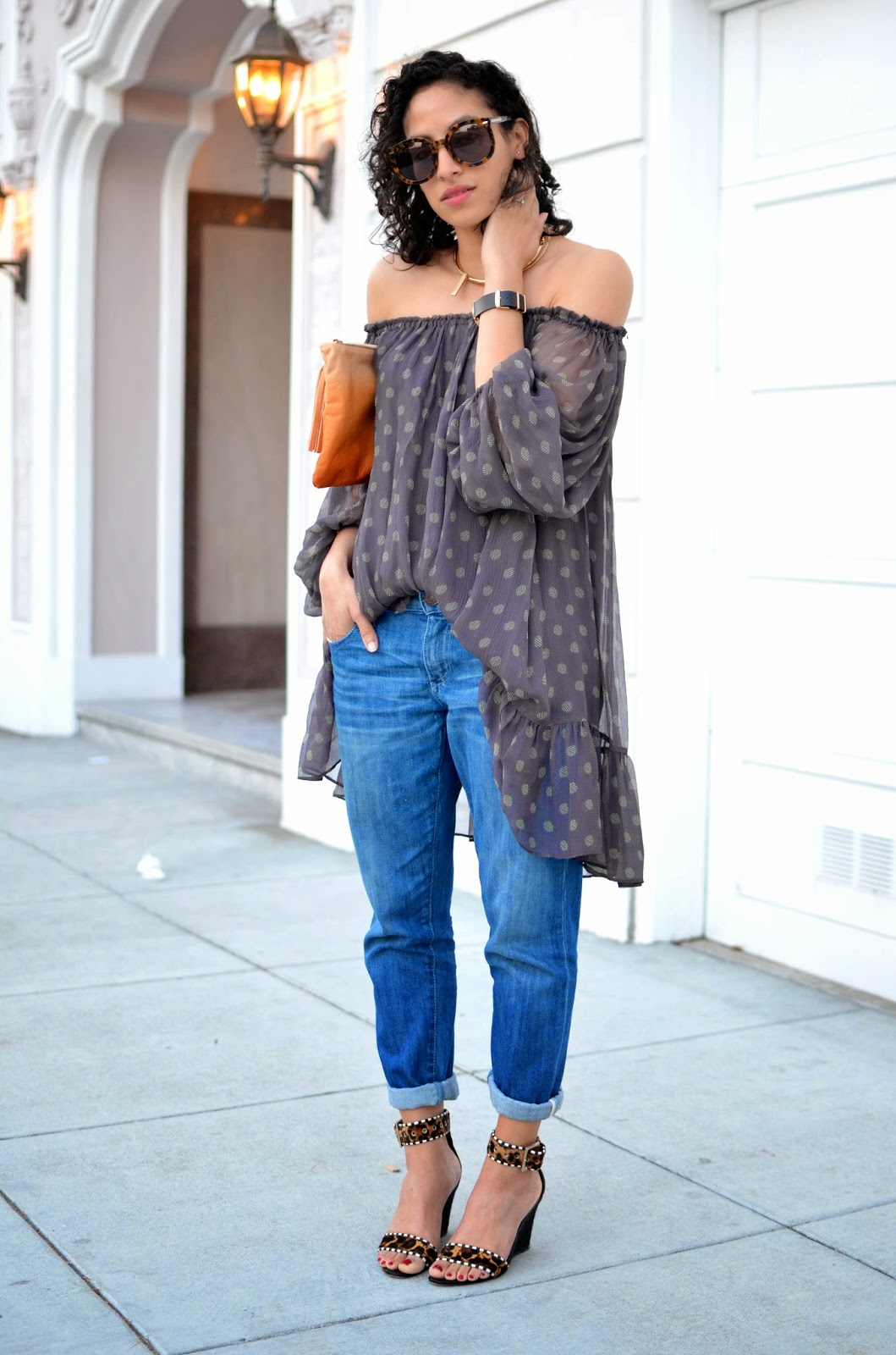 SF style, curly hair, True Religion denim, Off-the-Shoulder Top, off the shoulder dress, The 2 Bandits, J. Crew gold choker, B Brian Atwood, spring style, AYK Versa bag, TOKYObay watch, Karen Walker Super Sunglasses,