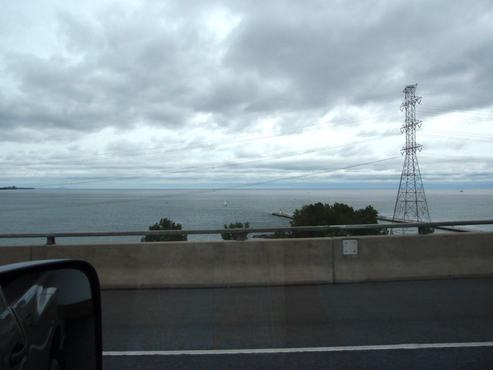 Driving along the lake