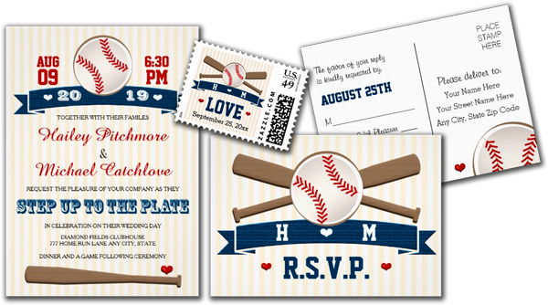 Monogrammed Baseball Couples Wedding Shower Custom Invites