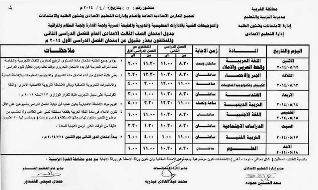 Prep 3 T2 جدول مواعيد صفوف الاعدادية الترم الثاني بالغربية 2014 و الاعدادية المهنية الصف الاول و الثاني و الثالث
