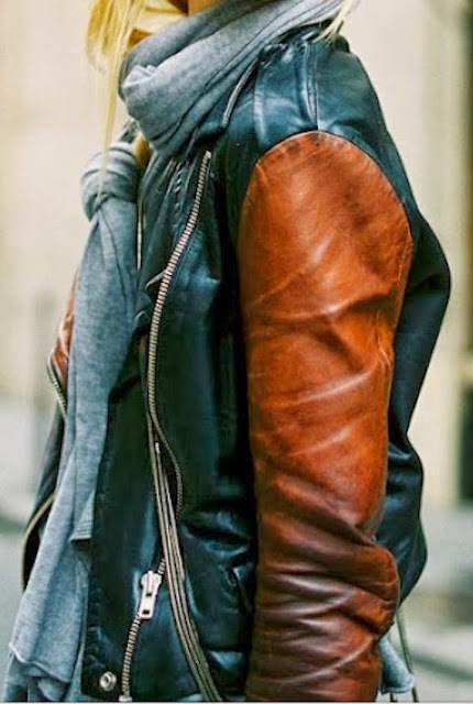 Two color leather jacket with zippers and scarf