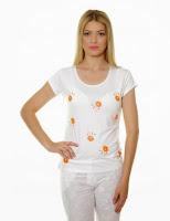 Tricou femei, alb, cu imprimeu margarete, Natalee (Natalee)