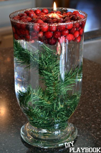 This cranberry Christmas centerpiece is easy to make and festive.