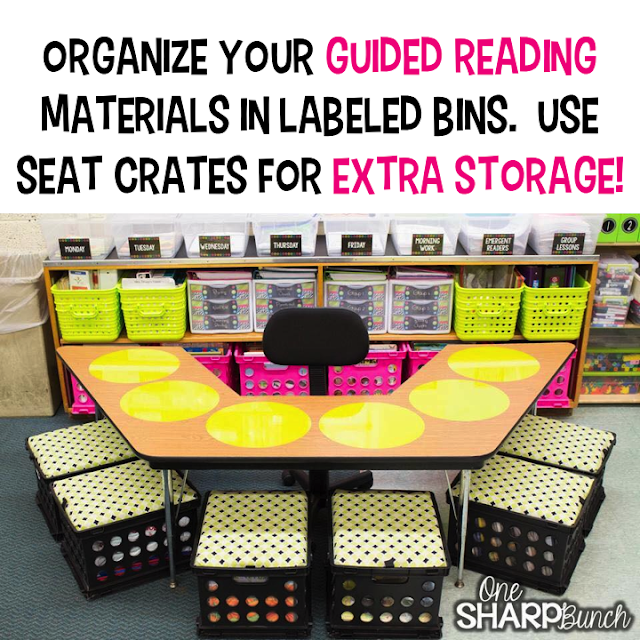 one sharp bunch, easy teaching tools, school, elementary school, seat crates, wall pops, guided reading, guided reading storage