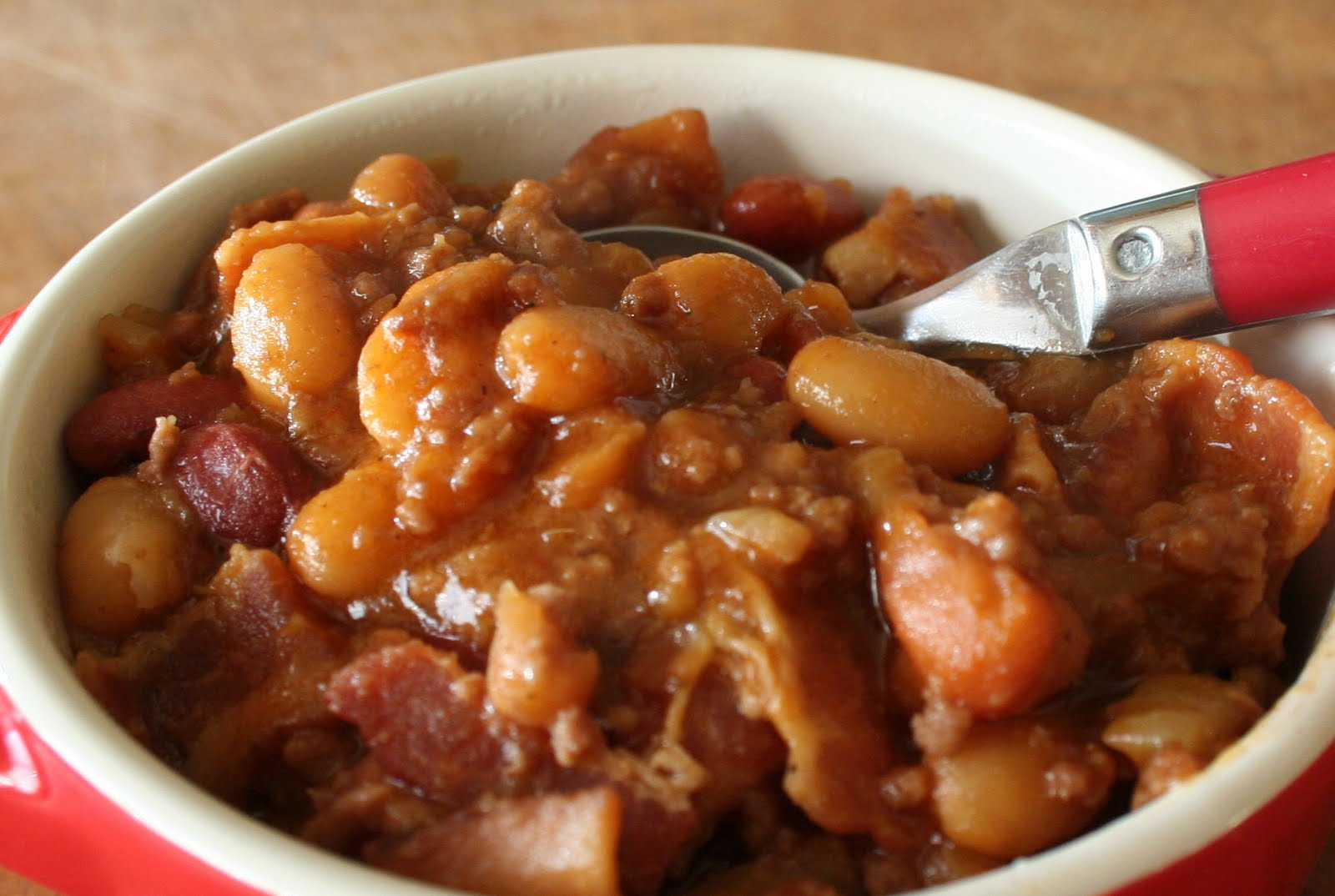 I also omitted the garbanzo beans and black-eyed peas and pinto beans. I'd used Great Northern, Cannellini Beans and Navy Beans in place of the other beans. I did use the butter beans and kidney beans! I just had a can of original baked beans with bacon and I used that in place of the pork and beans.5/5(2).