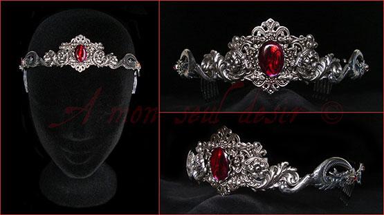 Couronne médiévale argent dragon medieval crown silver tiara circlet abalone paus shell