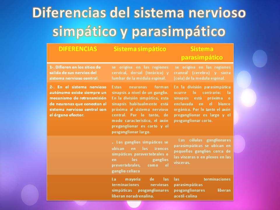 diferencias anatomicas del sistema simpatico y parasimpatico ...