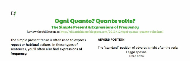 Preview of Ogni quanto? Quante volte? Simple Present Tense & Expressions of Frequency Worksheet by ab for didattichiamo.blogspot.com