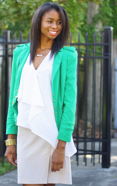 color for the office green blazer