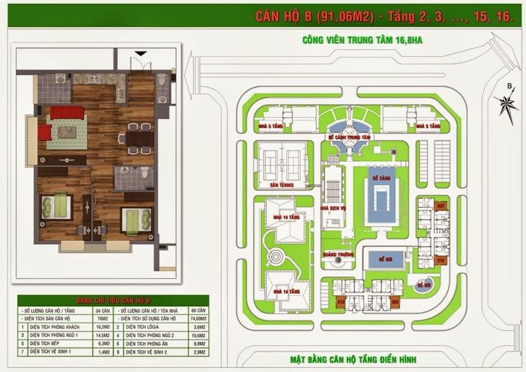 Thiết kế căn hộ B tòa Gh5 , Gh6 chung cư Green House