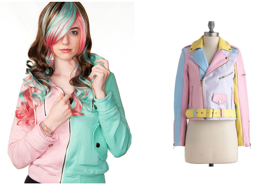 colorblocking, colorblock, colorblock jacket, colorblock trend, how to wear the colorblock trend, colorblock trend help, pastel jacket, pastel leather jacket, pastel biker jacket, modcloth pastel jacket, modcloth biker jacket, modcloth hoodie, modcloth clothes, modcloth outerwear
