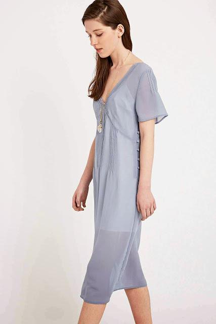 light blue midi dress, pins needles blue dress,