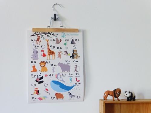 Poster Wandgestaltung Tieralphabet Spielzimmer