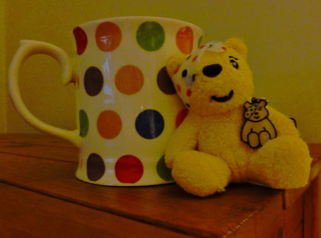 Spotty cup and Pudsey Bear
