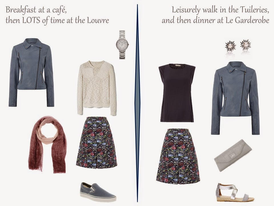 two outfits for a long weekend in Paris, including a floral skirt and a blue suede motorcycle jacket