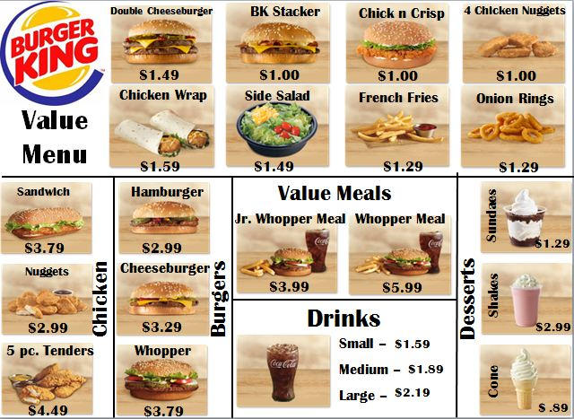 Worksheets Menu Math Worksheets empowered by them menu math burger king king