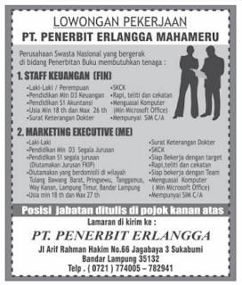 Info Lowongan Kerja di PT. Penerbit Erlangga