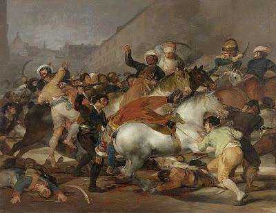 La carga de los mamelucos en la Puerta del Sol o El dos de mayo de 1808 en Madrid de Francisco de Goya, óleo sobre lienzo, 266 × 345 cm