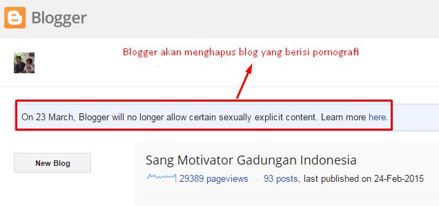 blogger menghapus blog pornografi