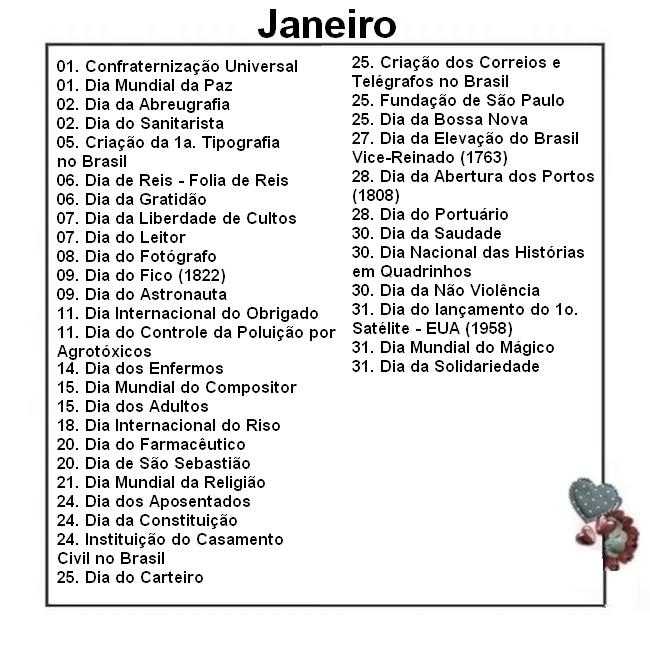 Well-known JARDIM COLORIDO DA TIA SUH: Datas comemorativas de janeiro NB59