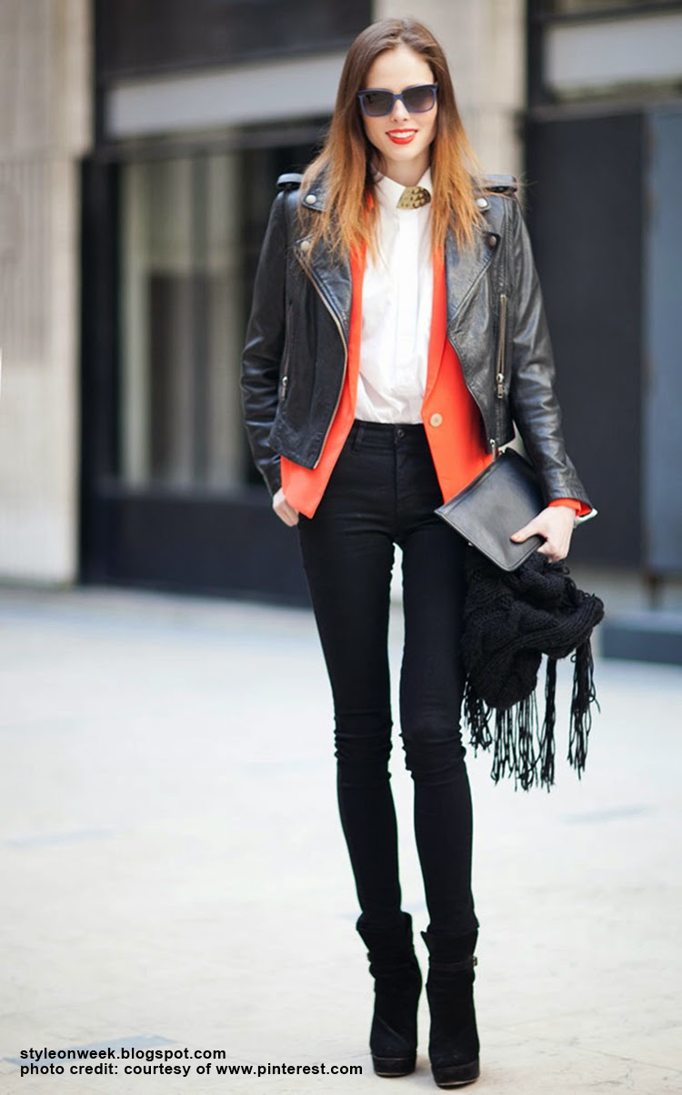 Celebrity Street Style - Coco Rocha Modern Look  With a Leather Jacket