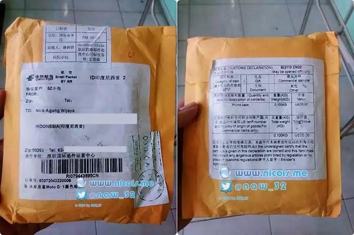 packaging barang dari aliexpress yang sudah sampai di rumah