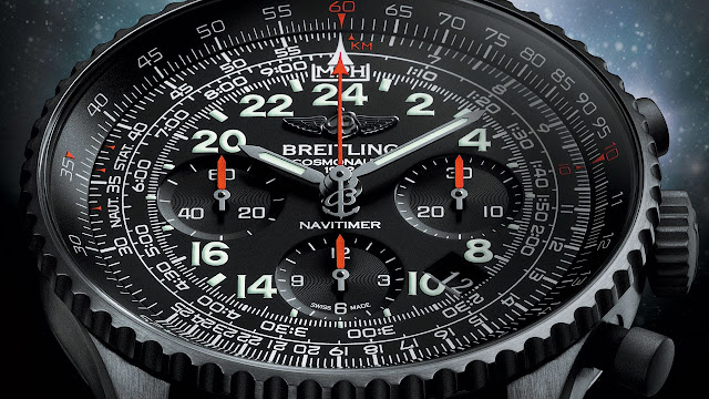 Breitling Navitimer Cosmonaute Blacksteel Watch detail