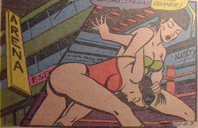 Lesbian female wrestler cartoon