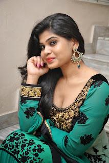 Actress Alekhya Pictures in Green Anarkali Long Length Salwar Kameez at Premisthe Poye Kaalam Audio Release Function  12.jpg