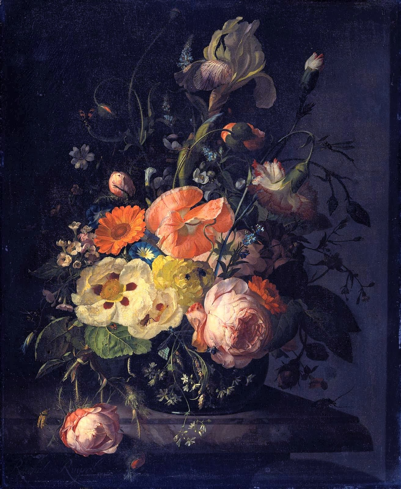 Rachel Ruysch - Still Life of Flowers on a Marble Table