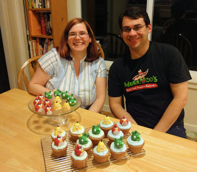 Robin and Jarred with an army of Angry Bird cupcakes